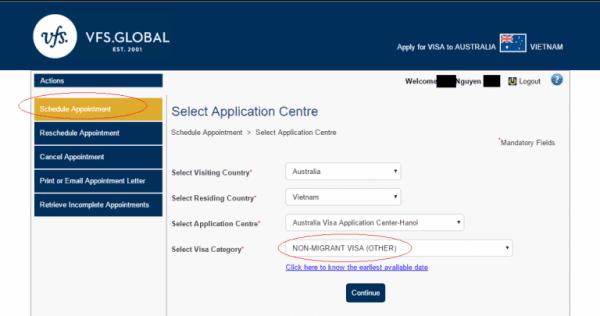 bước 1 Đặt lịch hẹn nộp hồ sơ xin visa úc