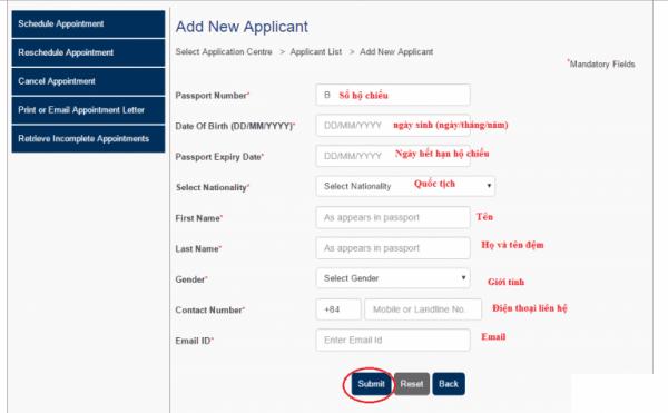 bước 3 Đặt lịch hẹn nộp hồ sơ xin visa úc