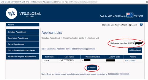 bước 4 Đặt lịch hẹn nộp hồ sơ xin visa úc