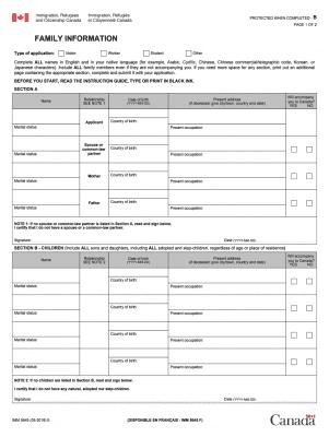 Form Canada IMM 5645