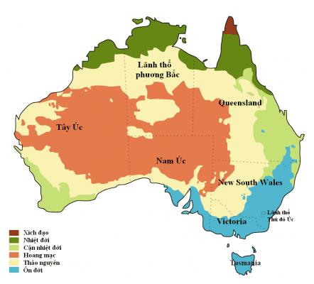 Phần lớn diện tích lục địa Úc là khí hậu hoang mạc