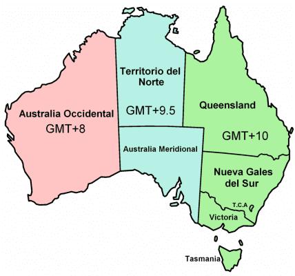 3 mảng màu phân biệt 3 múi giờ tại Úc